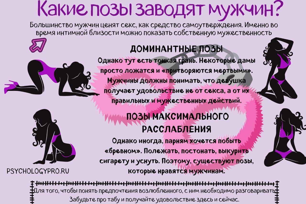 инфографик Позы которые заводят мужчин
